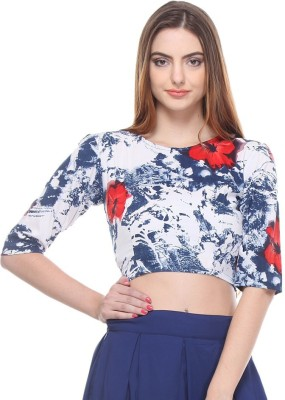 Closet Drama Casual 3/4 Sleeve Floral Print Women's Multicolor Top