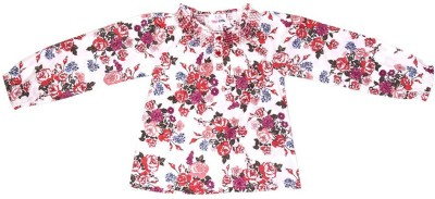 Young Birds Casual, Formal Full Sleeve Floral Print Girl's White Top