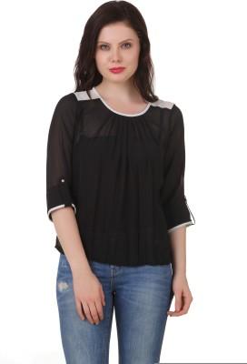 C2 Casual 3/4 Sleeve Solid Women's Black Top