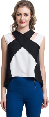Uptownie Lite Party Sleeveless Solid Women's Black Top at flipkart