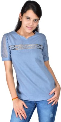 Palette Casual Short Sleeve Solid Women's Grey Top