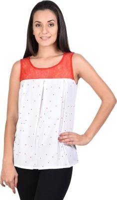 SHIBORI Casual Sleeveless Printed Women's White Top