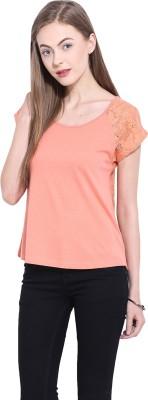 Leo Sansini Casual Short Sleeve Solid Women's Orange Top