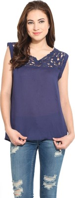 Free & Young Casual Cap sleeve Solid Women's Dark Blue Top