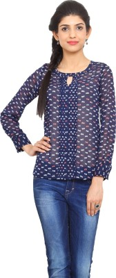 Label VR Casual Full Sleeve Printed Women's Blue Top