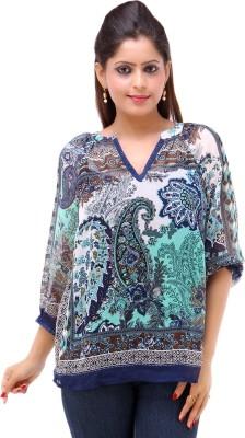 Kashana Fashions Casual 3/4 Sleeve Printed Women's Blue Top