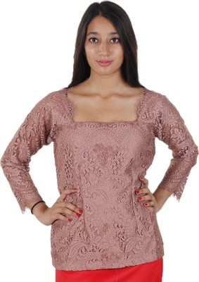 Mishe Designer Hub Casual Full Sleeve Solid Women's Pink Top