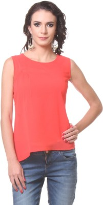 KIM KARTER Casual Sleeveless Solid Women's Red Top