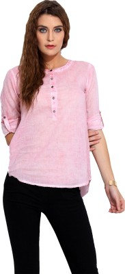 Porsorte Casual Roll-up Sleeve Solid Women's Pink Top