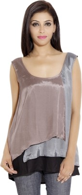 Simplona beau Casual Sleeveless Solid Women's Grey Top