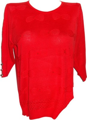 Forever 18 Casual 3/4 Sleeve Solid Women's Red Top