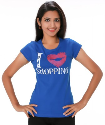 PEP18 Casual Short Sleeve Graphic Print Women's Blue, Pink Top