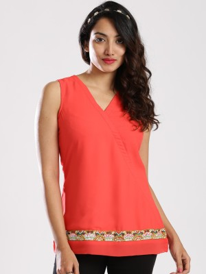 Anouk Casual Sleeveless Solid Women's Pink Top