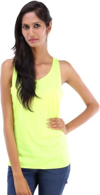 Koma Store Casual Sleeveless Solid Women's Yellow Top