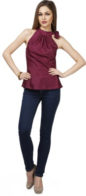 Glam & Luxe Casual Sleeveless Solid Women's Maroon Top