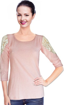 BeforeAfter Casual 3/4 Sleeve Solid Women's Pink Top
