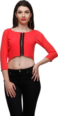 Eavan Casual 3/4th Sleeve Solid Women Pink Top at flipkart