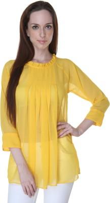 Rigoglioso Formal Full Sleeve Solid Women's Yellow Top