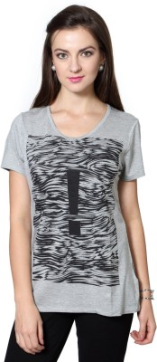 Van Heusen Casual Short Sleeve Graphic Print Women's Grey Top