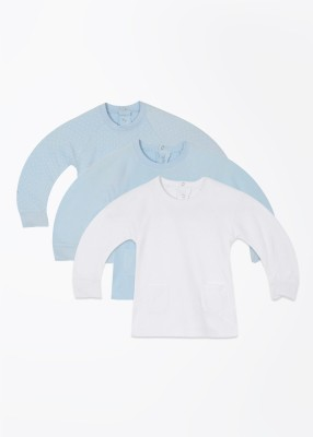 Day 2 Day Casual Full Sleeve Solid White, Blue Top
