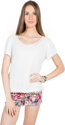 My Addiction Casual Short Sleeve Solid Women's White Top