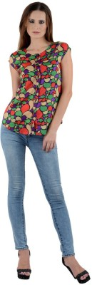 Visach Casual Cape Sleeve Printed Women's Multicolor Top