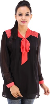 City Cavos Casual Full Sleeve Solid Women's Black Top