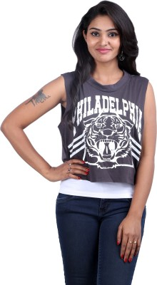 Midnight Casual, Lounge Wear, Party Sleeveless Printed Women,s Black, White Top