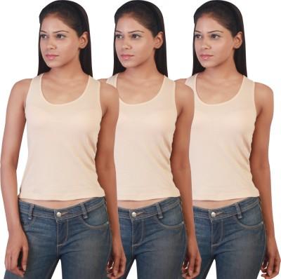 Twin Birds Casual Sleeveless Solid Women's Beige Top