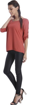 Only Casual 3/4 Sleeve Solid Women's Maroon Top