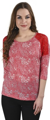 Five Stone Casual 3/4 Sleeve Solid Women's Red Top