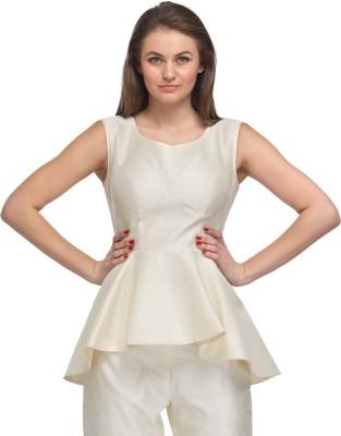 Fashionwalk Casual Sleeveless Solid Women's White Top