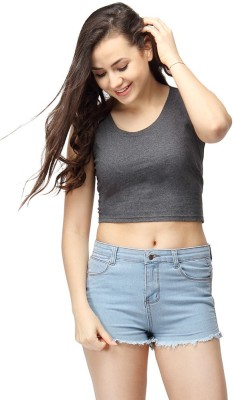 Campus Sutra Casual Sleeveless Solid Women's Grey Top