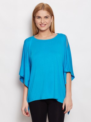 Young Threads Casual Short Sleeve Solid Women's Blue Top