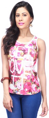 Life by Shoppers Stop Casual Sleeveless Printed Women's White Top