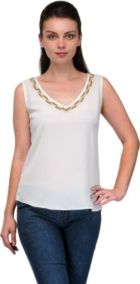 Enchanted Drapes Casual Sleeveless Solid Women's White Top