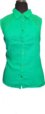 V.K TRADERS Casual Sleeveless Embroidered Girl,s Green Top