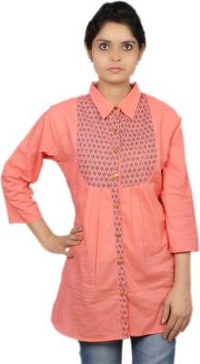 Kemrich Formal Full Sleeve Solid Women's Orange Top