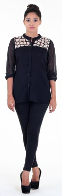 Aggana Casual 3/4 Sleeve Solid Women's Black Top