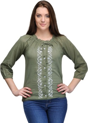 India Inc Casual 3/4 Sleeve Embroidered Women's Dark Green Top