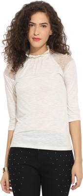 Northern Lights Casual 3/4 Sleeve Solid Women's White Top
