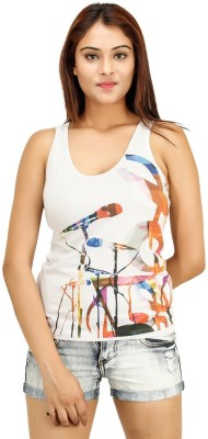 Opiumstreet Casual Sleeveless Printed Women's White Top