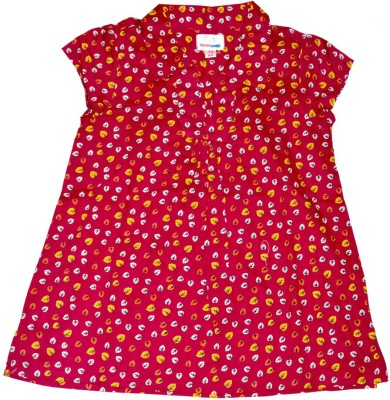 Young Birds Casual Short Sleeve Printed Girl's Red Top
