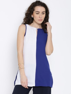 Popnetic Casual Sleeveless Solid Women's White, Blue Top