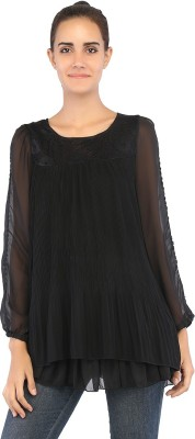 Ffashionstylus Party Full Sleeve Embroidered Women's Black Top