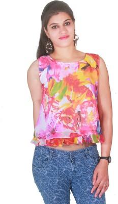 Selfi Party Sleeveless Floral Print Women's Blue Top
