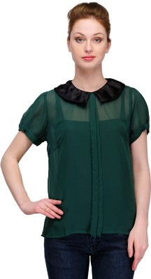 Kami Party Short Sleeve Solid Women,s Green Top