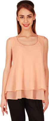Natty India Casual Sleeveless Solid Women's Beige Top