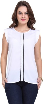 DeDe,S Casual Sleeveless Solid Women's White, Black Top