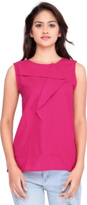 Ossi Casual Sleeveless Solid Women's Pink Top